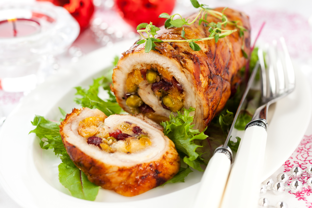 Turkey roll with cran raisin vegetable stuffing