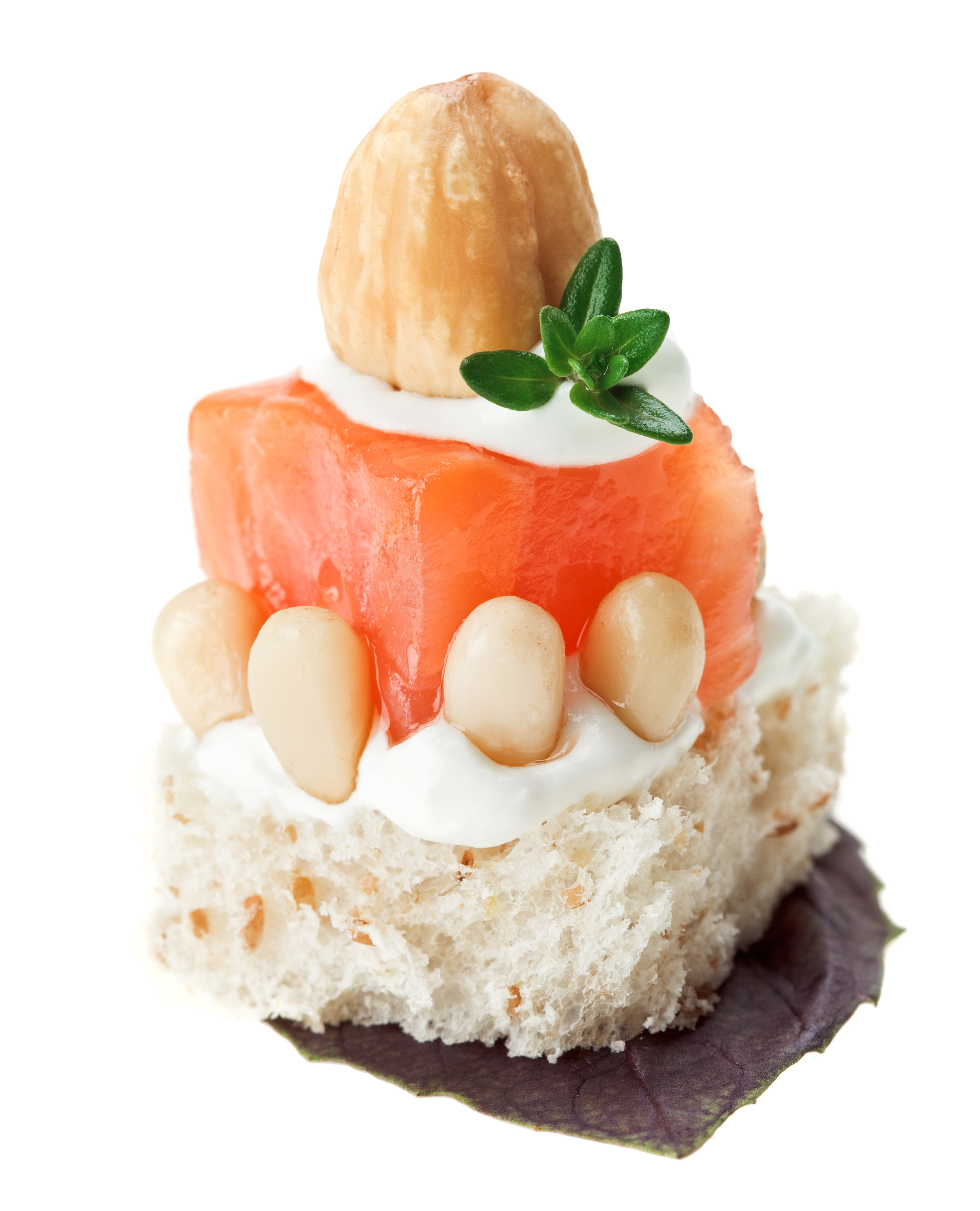 salmon canape with hazelnut